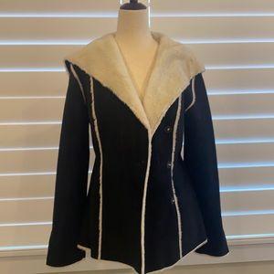 White House Black Market black faux fur jacket XS